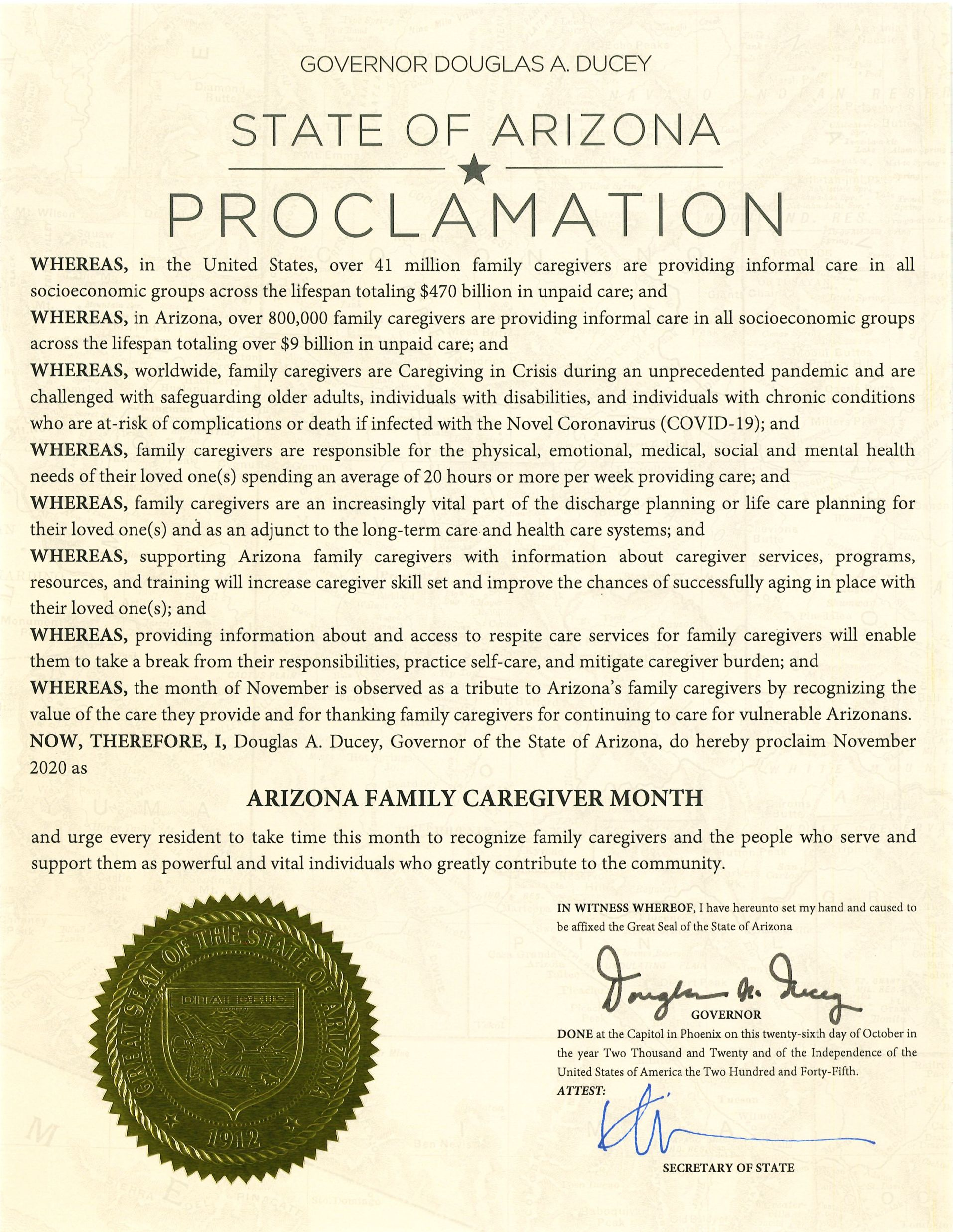 AZ Family Caregiver Month 2020 Proclamation